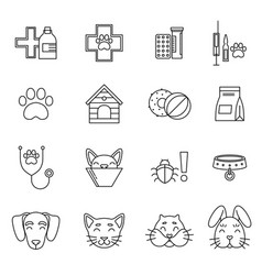 linear icons set of veterinarian clinic different vector image vector image