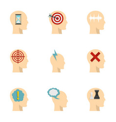 man head with thoughts icons set flat style vector image