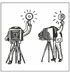 Man with old camera vector image