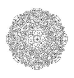 Mandala eastern pattern zentangl coloring round vector