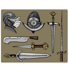 Medieval symbols helmet and swords knife vintage vector