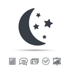 Moon and stars icon night sleep sign vector