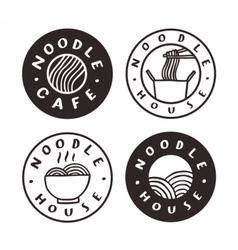 Noodle cafe badges vector image vector image