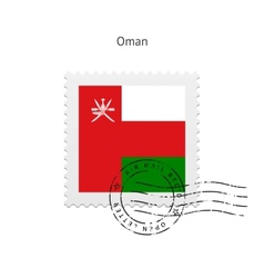 Oman flag postage stamp vector