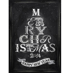 Poster Tree Christmas Happy chalk vector image