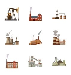 Production icons set cartoon style vector