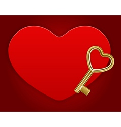 red shiny heart card with key vector image