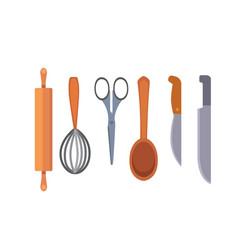 Set kitchen utensils cooking tools flat vector