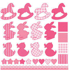 Set with toys - horses rabbits hearts and stars vector