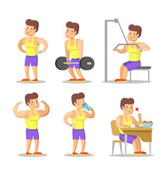Strong man cartoon body builder in gym vector