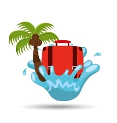suitcase water splash palm summer vacation vector image