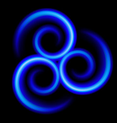 Three an abstract blue swirls on black vector