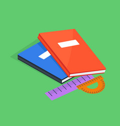 Two copybooks red and blue ruler and protractor vector