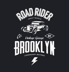 Vintage hot rod tee-shirt logo vector