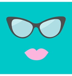 Womens glasses and lips Flat design vector image vector image