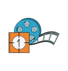 Tape reel with cinema icon vector