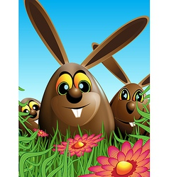 Three easter eggs hidden in the grass vector