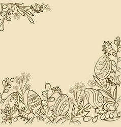 Easter plants frame vector