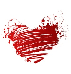 Red grunge heart vector