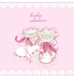 Pink booties for newborn baby shower card vector image