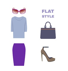 Flat style womans look fashion wear vector