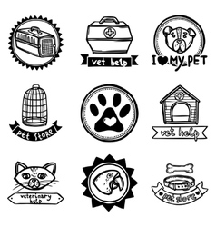 Veterinary emblems set vector