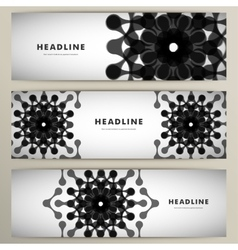 Three pattern abstract in banner design vector