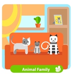 Set family cats in the room vector