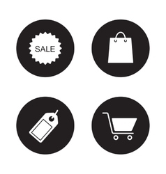 Shopping icons set black vector