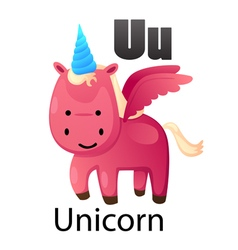 Alphabet u with unicorn vector