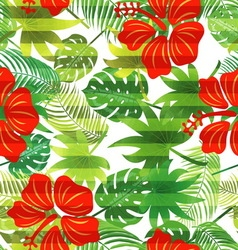 Seamless pattern tropical leaves hibiscus vector