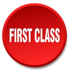 First class red round flat isolated push button vector