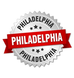 Philadelphia round silver badge with red ribbon vector