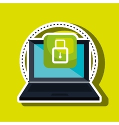 Computer laptop with padlock isolated icon design vector