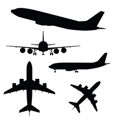 airplane silhouette in different view vector image