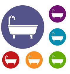 bathtub icons set vector image vector image