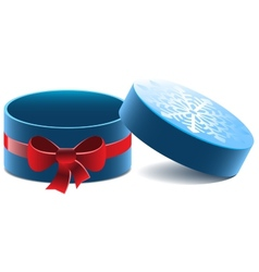 Blue open round gift box with a red bow vector image vector image