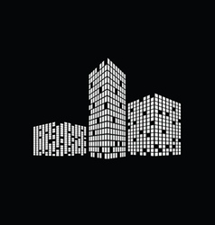 Business building on black vector