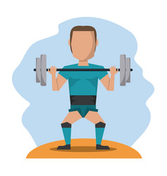 color scene with faceless man lifting weights vector image vector image