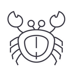 crab line icon sign on vector image vector image