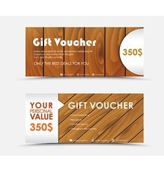 Design gift voucher with different wood texture vector image vector image