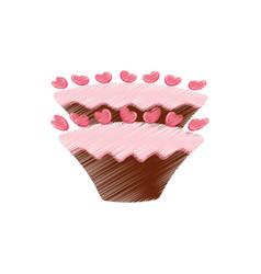 Drawing cake pastry sweet hearts vector