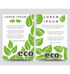 Eco brochure template with green leaves vector