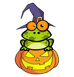 Frog With A Witch Hat In Pumpkin vector image vector image