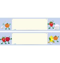Fruits cartoon characters near menu board banner vector