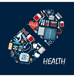 Healthcare icons in pill or tablet shape vector