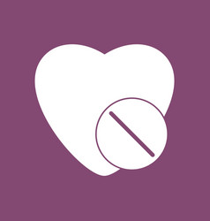 Icon heart with medical pills vector