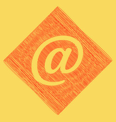 Mail sign red scribble icon vector