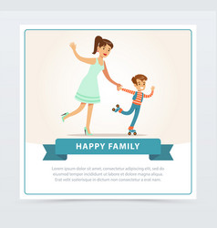 mother with her son roller skating happy family vector image