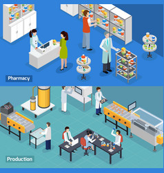 Pharmaceutical production 2 isometric banners vector